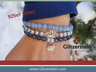 Armband: Swarovski (6 mm/ Demin Blue) mit Anhänger Lotusblüte in 925er Silber