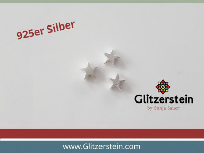Sterne 6×2,2 mm glänzend in 925er Silber (2er/ 3er Pack)
