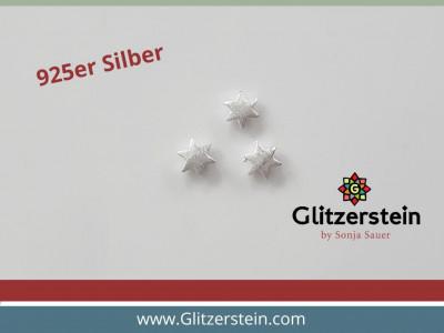 Sterne 6×2,2 mm mattiert in 925er Silber (2er/ 3er Pack)