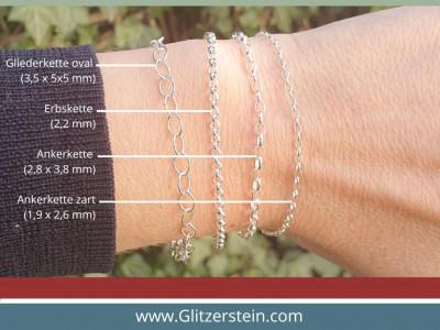 Armband/ Fusskette: Zarte Ankerketten-Armband mit Anhänger Mandala in 925er Silber